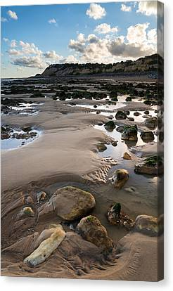 Summer Landscape With Rocks On Beach During Late Evening And Low Canvas Print by Matthew Gibson