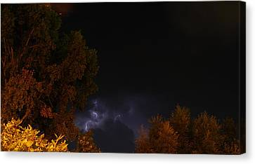 Canvas Print featuring the photograph Summer Lightning Storm by Ramona Whiteaker