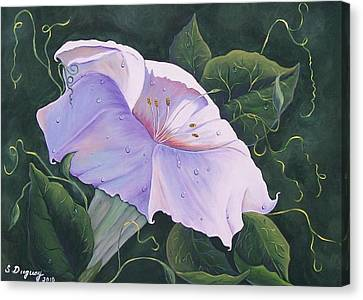 Canvas Print featuring the painting Morning Glory  by Sharon Duguay