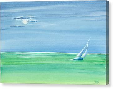 Summer Moonlight Sail Canvas Print
