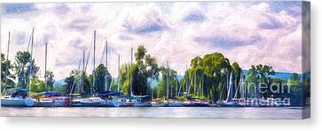Finger Lakes Canvas Print - Summer Morning At Johnson's Boatyard by Michele Steffey