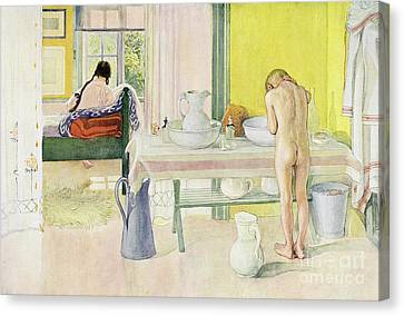 Summer Morning Pub In Lasst Licht Hinin Let In More Light Canvas Print by Carl Larsson