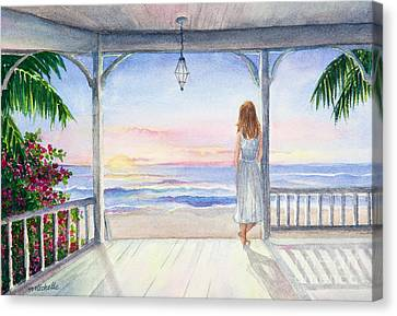 Summer Morning Watercolor Canvas Print by Michelle Wiarda