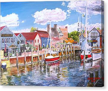 Summer On Bowens, Newport, Rhode Island Canvas Print