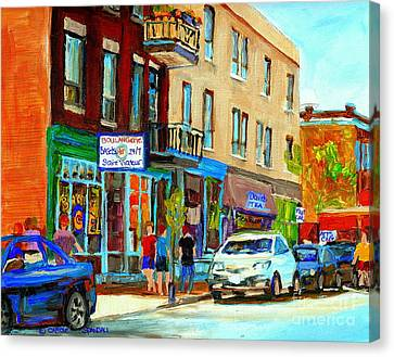 St.viateur Bagel Canvas Print - Summer On Saint Viateur Street Strolling By The Bagel Shop And David's Tea Room  Montreal City Scene by Carole Spandau