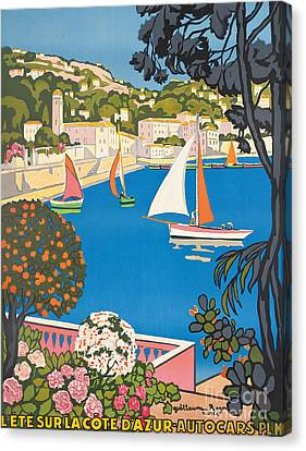 Port Town Canvas Print - Summer On The Cote D'azur by Guillaume Georges Roger
