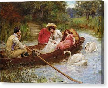 Summer Pleasures On The River Canvas Print by George Sheridan Knowles