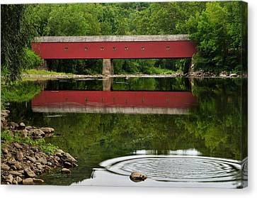 Summer Reflections At West Cornwall Covered Bridge Canvas Print