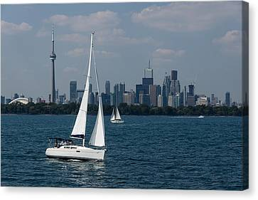 Summer Sailing Postcard From Toronto Canvas Print
