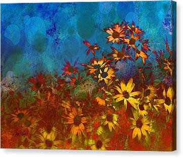 Summer Sizzle Abstract Flower Art Canvas Print by Ann Powell