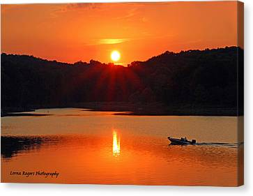 Summer Star Burst Sunset With Signature Canvas Print by Lorna Rogers Photography
