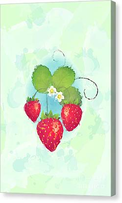 Summer Strawberries Canvas Print by Jane Rix