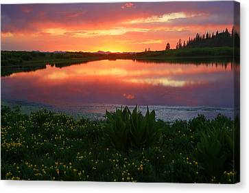Summer Sunset Above Lake Creek. Canvas Print by Johnny Adolphson