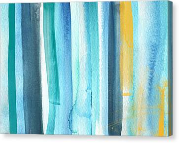 Living-room Canvas Print - Summer Surf- Abstract Painting by Linda Woods
