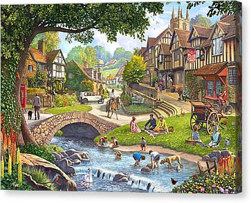 Man And Dog Canvas Print - Summer Village Stream 2015 by Steve Crisp