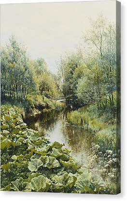 Summerday At The Stream Canvas Print by Peder Monsted