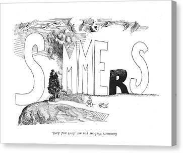 Summers Without You Are Short And Dark Canvas Print by Saul Steinberg