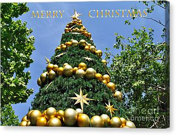 Summertime Christmas With Text Canvas Print by Kaye Menner