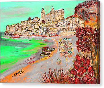 Summertime In Cefalu' Canvas Print by Loredana Messina