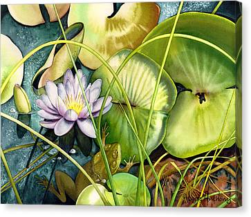 Frog Watercolor Canvas Print - Summertime by Lyse Anthony