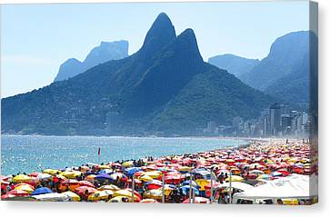 Dois Irmaos Canvas Print - Summertime On The Beach Of Ipanema by Jose Francisco Abreu