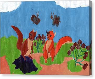 Summertime Squirrels Canvas Print