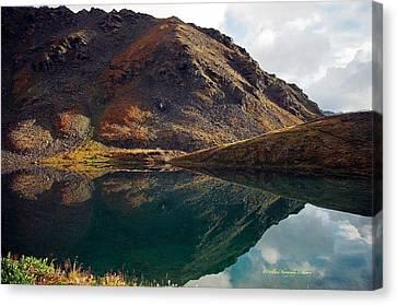 Mountain Reflection Lake Summit Mirror Canvas Print - Summit Lake Reflection by Laura Lowrey