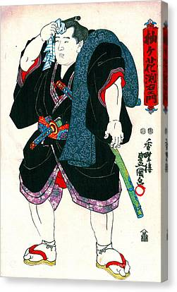 Sumo Wrestler Somagahana Fuchiemon 1848 Canvas Print by Padre Art
