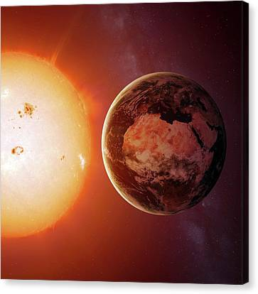 Sun And Earth From Space Canvas Print by Detlev Van Ravenswaay