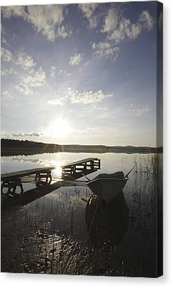 Sun And Jetty With Low Sun Canvas Print