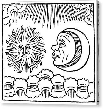 Man In The Moon Canvas Print - Sun And Moon, 1480 by Granger