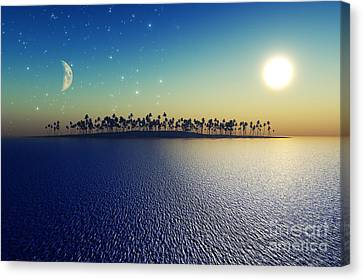 Tranquil Canvas Print - Sun And Moon by Aleksey Tugolukov
