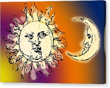 Designs On Face Canvas Print - Sun And Moon Colorful by