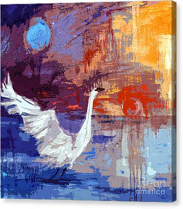 Sun And Moon Swan Rising Canvas Print by Ginette Callaway