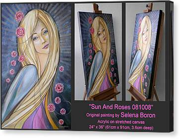 Canvas Print featuring the painting Sun And Roses 081008 Comp by Selena Boron