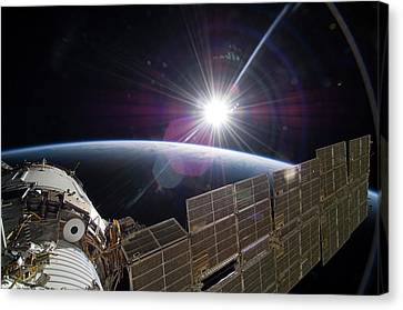 Sun And The Iss Canvas Print
