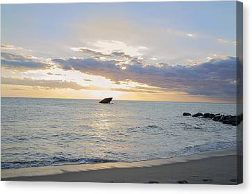 Sun Behind The Clouds - Sunset Beach - Cape May Canvas Print by Bill Cannon