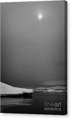 sun breaking through mist and cloud over snow covered ice shelf falling into the sea at Fournier Bay Canvas Print by Joe Fox