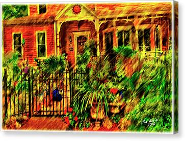 Canvas Print featuring the painting Sun Dial House by Ted Azriel