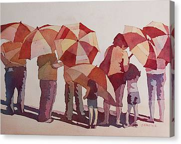 Sun Drenched Parasols  Canvas Print by Jenny Armitage