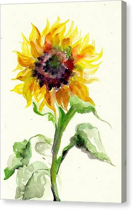 Sunflower Watercolor Canvas Print by Tiberiu Soos
