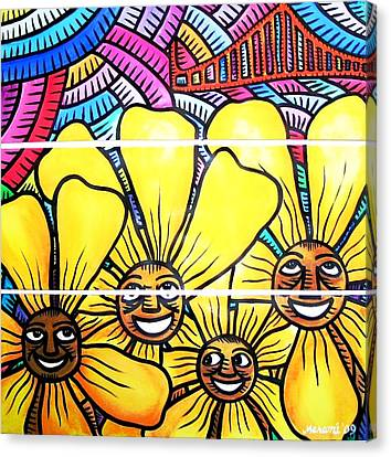 Sun Flowers And Friends Sf 1 Canvas Print