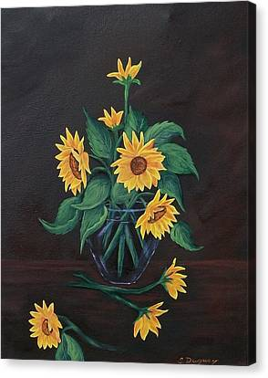 Canvas Print featuring the painting Sun Flowers  by Sharon Duguay