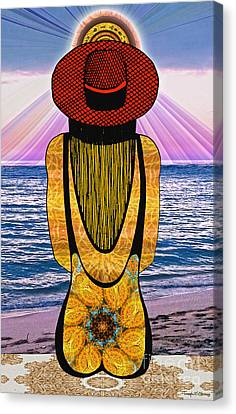 Beach Scenes Canvas Print - Sun Girl's Back by Joseph J Stevens