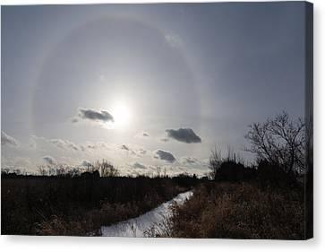 Sun Halo - An Amazing Optical Phenomenon In The Winter Sky Canvas Print by Georgia Mizuleva