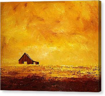 Sun Lit Barn Canvas Print by William Renzulli