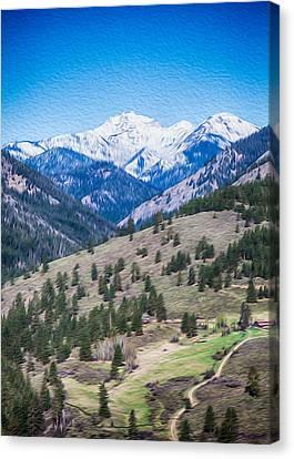 Sun Mountain View Of Mt Gardner In Springtime Canvas Print by Omaste Witkowski