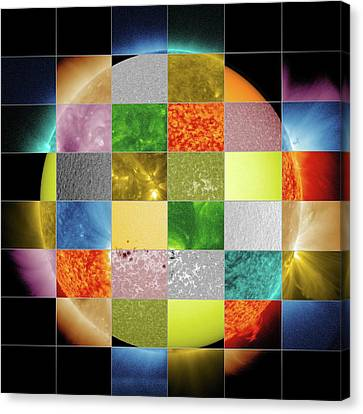 Sun Observed At Different Wavelengths Canvas Print by Nasa/sdo/goddard Space Flight Center