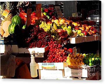 Canvas Print featuring the photograph Sun On Fruit Close Up by Miriam Danar