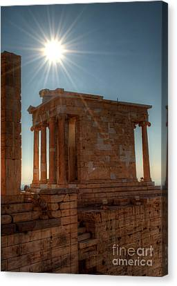 Sun Over Athena Nike Temple Canvas Print by Deborah Smolinske